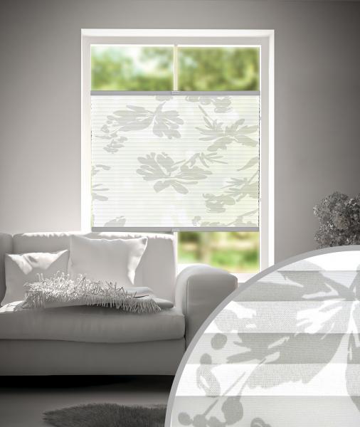 Plissee Flowers Weiß-Grau
